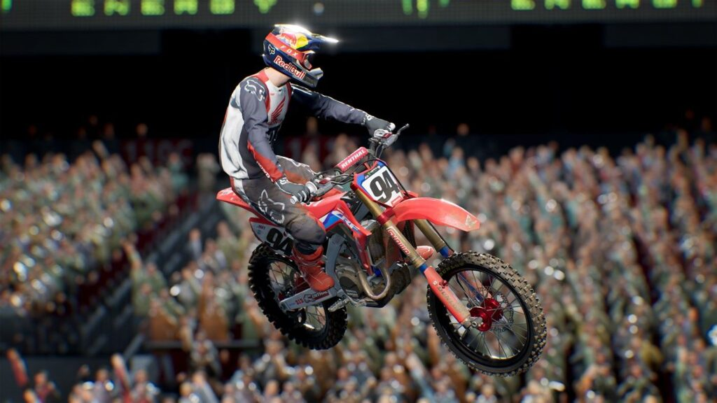moto durante il salto in Monster Energy Supercross: The Official Videogame 4 recensione